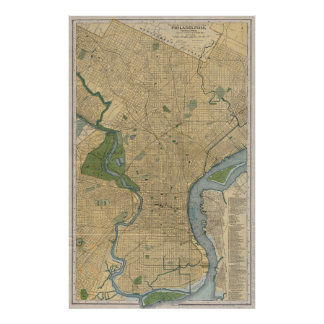 Vintage Map of Philadelphia PA (1895) Poster