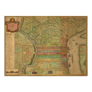 Vintage Map of Philadelphia Pennsylvania (1802) Poster