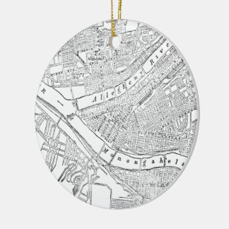 Vintage Map of Pittsburgh (1885) Double-Sided Ceramic Round Christmas Ornament