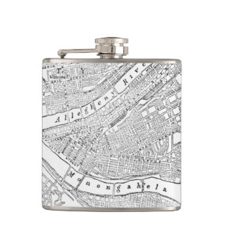 Vintage Map of Pittsburgh 1885 Flask