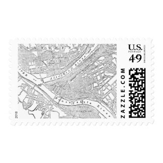 Vintage Map of Pittsburgh 1885 Postage Stamp