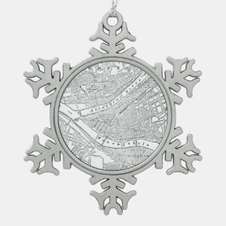 Vintage Map of Pittsburgh (1885) Snowflake Pewter Christmas Ornament