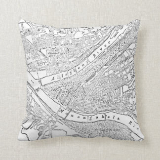 Vintage Map of Pittsburgh (1885) Throw Pillow