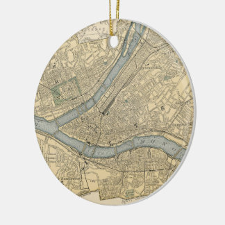 Vintage Map of Pittsburgh PA (1891) Ceramic Ornament