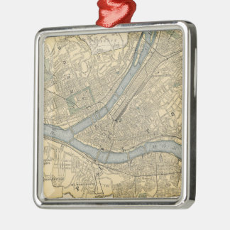 Vintage Map of Pittsburgh PA (1891) Metal Ornament