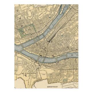 Vintage Map of Pittsburgh PA (1891) Postcard
