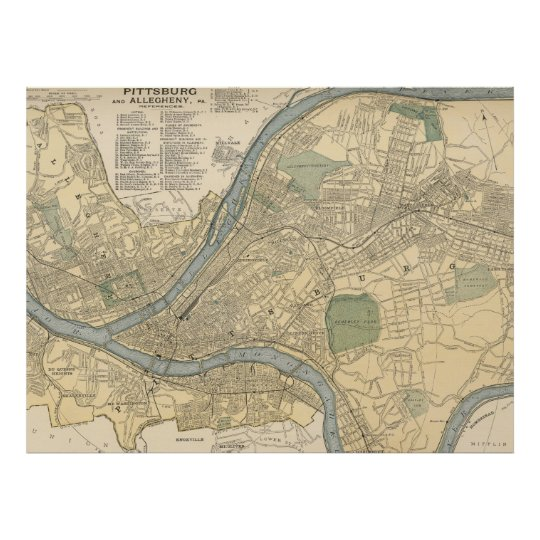 Vintage Map of Pittsburgh PA (1891) Poster