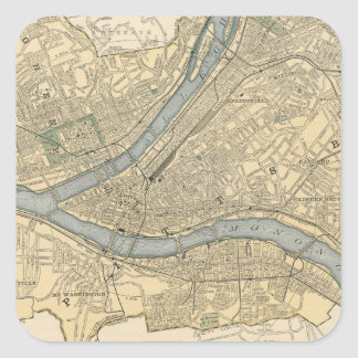Vintage Map of Pittsburgh PA (1891) Square Sticker