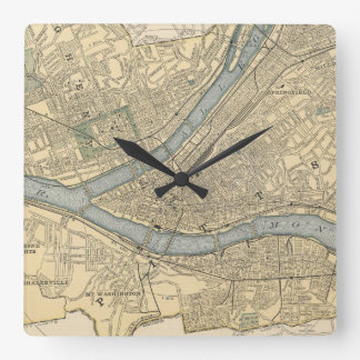 Vintage Map of Pittsburgh PA (1891) Square Wall Clock