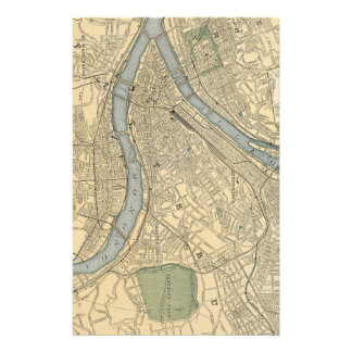 Vintage Map of Pittsburgh PA (1891) Stationery