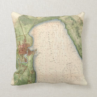 Vintage Map of Plattsburgh New York (1872) Throw Pillow