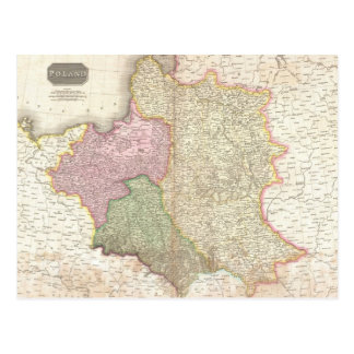 Vintage Map of Poland (1818) Postcard