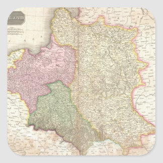 Vintage Map of Poland (1818) Square Sticker