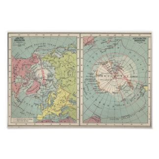 Vintage Map of Polar Regions Arctic and Antartica Poster