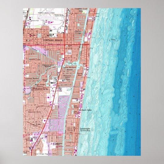 Pompano Beach Map Of Florida.Vintage Map Of Pompano Beach Florida 1962 Poster Zazzle Com