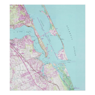 Vintage Map of Port St Lucie Inlet (1948) Poster