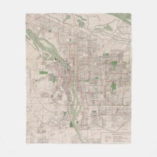 Vintage Map of Portland Oregon (1912) Fleece Blanket