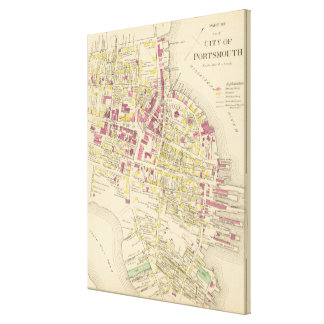Vintage Map of Portsmouth NH (1892) Canvas Print