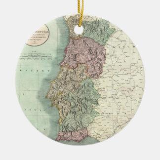 Vintage Map of Portugal (1801) Ceramic Ornament