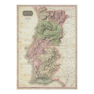 Vintage Map of Portugal (1818) Poster