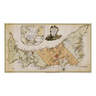 Vintage Map of Prince Edward Island (1775) Poster