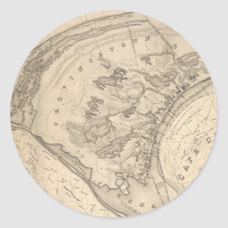 Vintage Map of Provincetown (1836) Classic Round Sticker