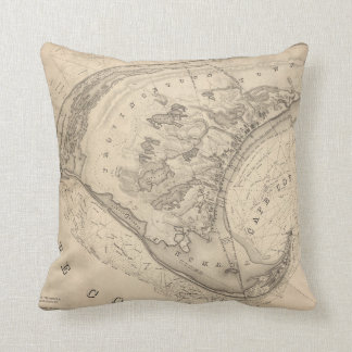 Vintage Map of Provincetown (1836) Throw Pillows