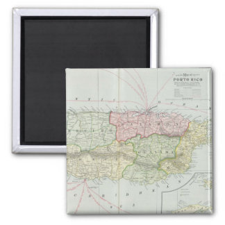 Vintage Map of Puerto Rico (1901) 2 Inch Square Magnet