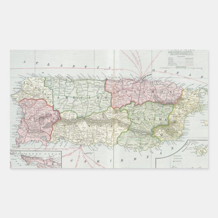 Vintage Map of Puerto Rico (1901) Rectangular Sticker