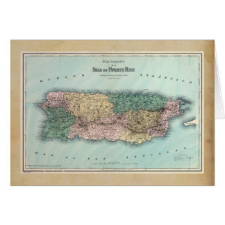 Vintage Map of Puerto Rico Card