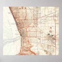 Vintage Map of Redondo Beach & Torrance CA (1934) Poster