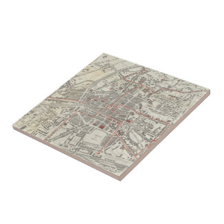Vintage Map of Rennes France (1905) Ceramic Tile