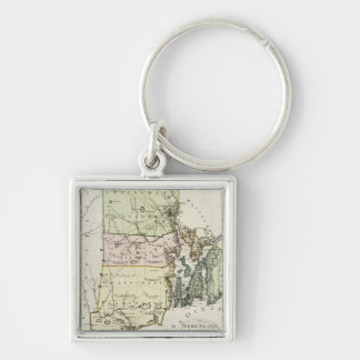 Vintage Map of Rhode Island (1797) Silver-Colored Square Keychain
