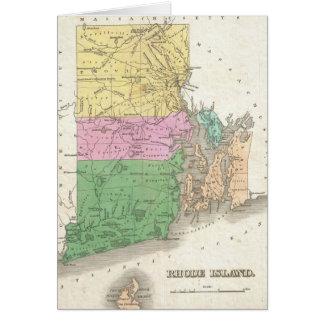 Vintage Map of Rhode Island (1827) Card