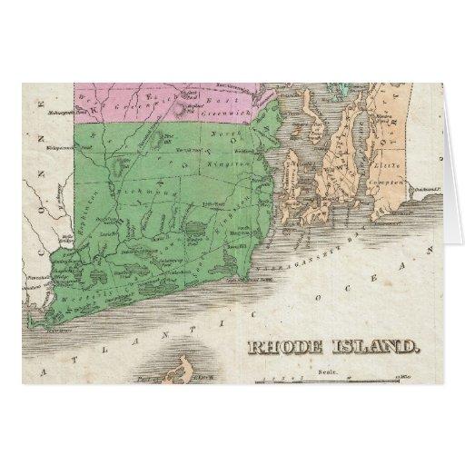Vintage Map of Rhode Island (1827) Greeting Card