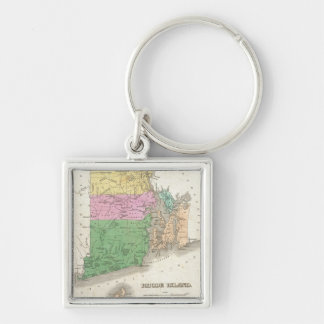 Vintage Map of Rhode Island (1827) Silver-Colored Square Keychain
