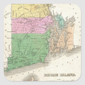 Vintage Map of Rhode Island (1827) Square Sticker