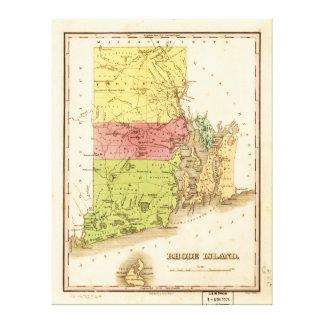 Vintage Map of Rhode Island (1829) Canvas Print