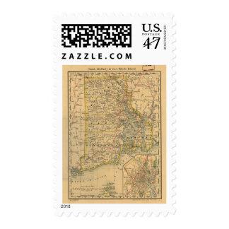 Vintage Map of Rhode Island (1875) Postage