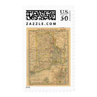 Vintage Map of Rhode Island (1875) Postage