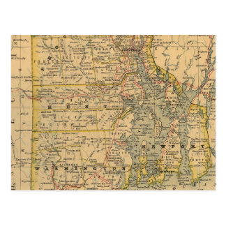 Vintage Map of Rhode Island (1875) Postcard