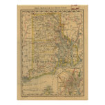 Vintage Map of Rhode Island (1875) Poster