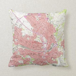 Vintage Map of Roanoke Virginia (1963) Throw Pillow