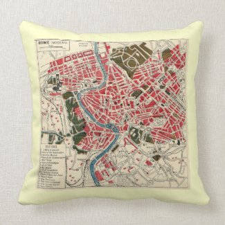 Vintage Map of Rome throwpillow