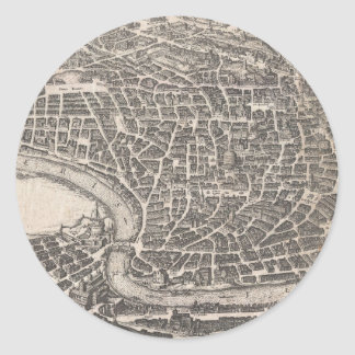 Vintage Map of Rome Italy (1652) Classic Round Sticker