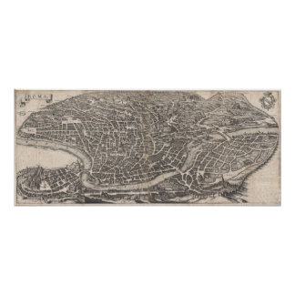 Vintage Map of Rome Italy (1652) Poster
