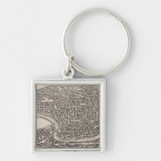 Vintage Map of Rome Italy (1652) Silver-Colored Square Keychain