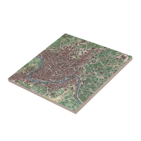 Vintage Map of Rome Italy (1721) Ceramic Tile