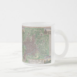 Vintage Map of Rome Italy (1721) Frosted Glass Coffee Mug