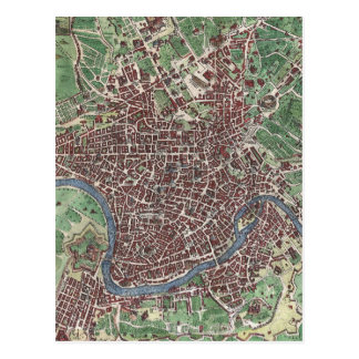 Vintage Map of Rome Italy (1721) Postcard